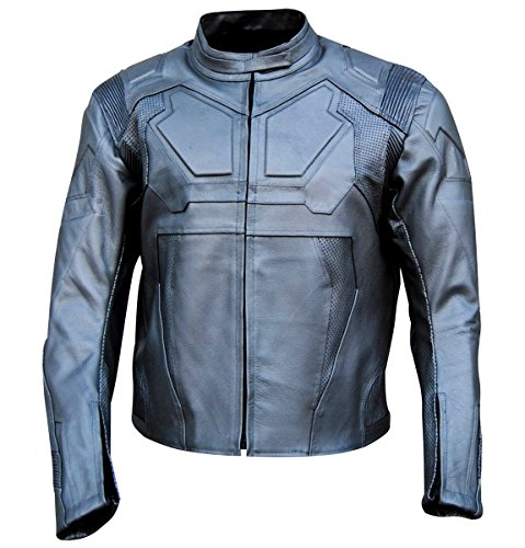 Bestzo Men's Fashion Oblivion Genuine Leather Motorcycle Jacket Grey XXL