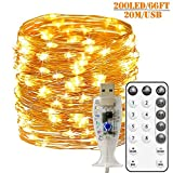 Fairy Lights USB Operated Waterproof Copper Wire String Lights 66ft/20M 200 LED 8 Modes Remote and 2/4/6/8Hour Timer for Xmas, Party, Bedroom, Wedding, Indoor/Outdoor (Warm White)
