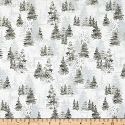 Wilmington Woodland Friends Shadow Trees Gray Fabric by the Yard