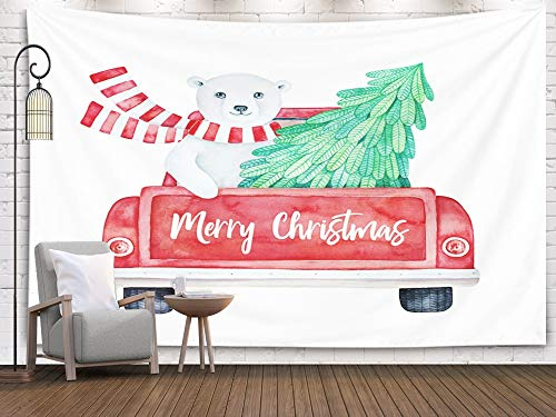 Musesh Tapestries Wall Hanging for Bedroom Living Room Decor Inhouse Christmas of Red Vintage Truck Back View Holiday Greeting Message and Cute Smiling Bear Driving with 80x60 Inches Size,Blue Green (Technic Arctic Truck)