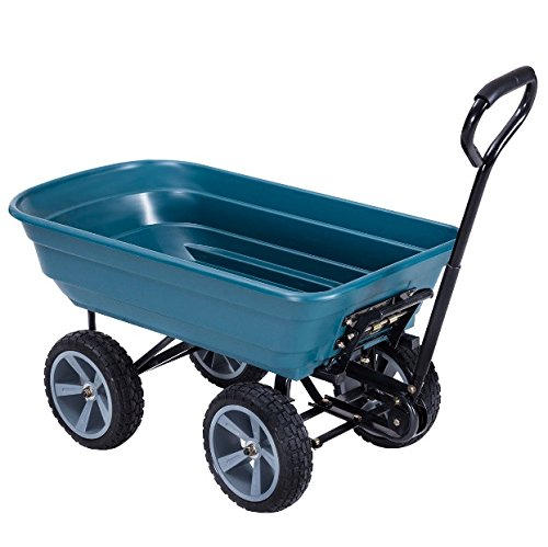 4 Wheels Rolling Garden Dump Cart Wagon Buggy Dumper Carrier Wheelbarrow Air Tires Heavy-Duty PP And Steel Frame Construction Padded Handle Gardening Planting Outdoor Patio Lawn Yard Utility Dump Cart