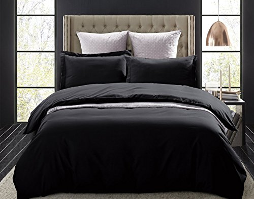 Word of Dream Brushed Microfiber Duvet Cover Set - Lightweight and Soft - Full/Queen, Black