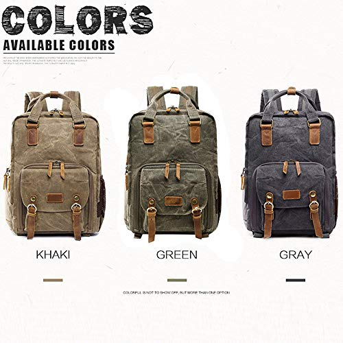 Vintage Photography Backpack Hot Premium Multi-Functional Military Style Canvas Backpack Rucksack,Waterproof Photography Canvas Bag for Camera, Lens and Accessories (Army Green) by Outsta (Image #2)