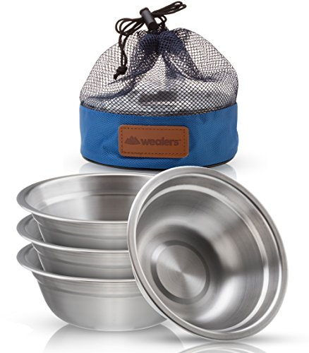 Stainless Steel Bowl Set - 6 inch Ultra-Portable Dinnerware 4 Pack Round BPA Free Bowls with Mesh Travel Bag for Outdoor Camping | Hiking | Picnic | BBQ | Beach ()