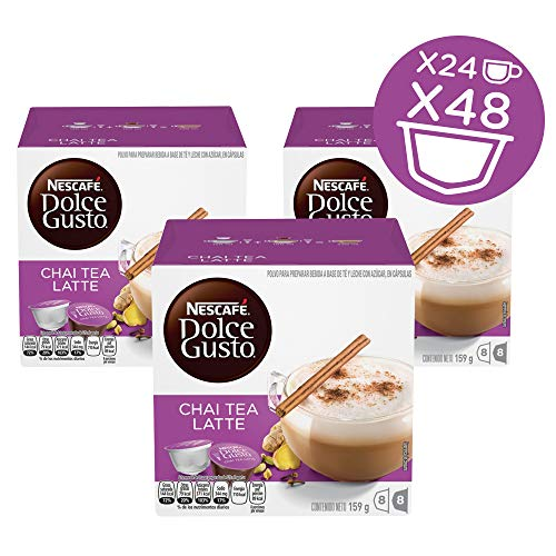 NESCAFÉ Dolce Gusto Coffee Capsules  Chai Tea Latte 48 Single Serve Pods, (Makes 24 Specialty Cups)   48 Count (Best Nespresso Coffee For Latte)
