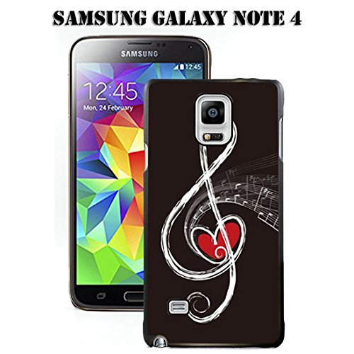 Galaxy Note 4 Black Cover TPU Rubber Gel - Red Heart and Music Note ()