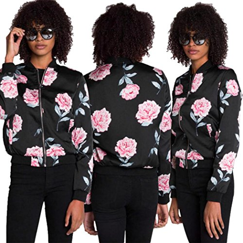 Vovotrade Impresión ocasional de las mujeres Cremallera Vendimia Chaqueta Blazer Capa Blusa exterior Negro