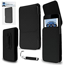 HTC Evo 3D Carbon Fibre / Fiber Black PU Leather Vertical Executive Side Pouch Case Cover Holster with Belt Loop Clip and Magnetic Closure and Re-Tractable Stylus Pen For HTC Evo 3D