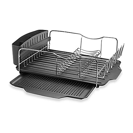 Sabatier 40 Expandable Stainless Steel Dish Rack With Rust Delectable Sabatier Expandable Dish Rack With Soft Touch Coating