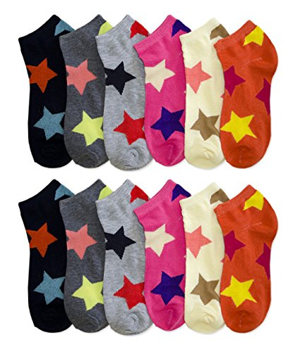 (SHS Women's Ankle Socks Colorful Design Multi-Color 12 Pairs (9-11, Stars 2))