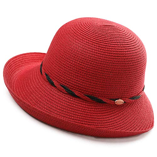 - Wide Roll Up Brim Packable Straw Sun Hat Women Fedora Beach Panama Cloche Red