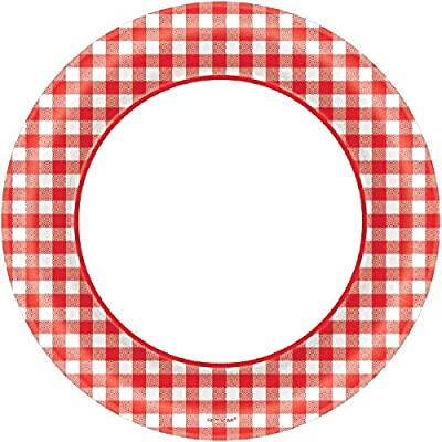 "Amscan Picnic Gingham Party Round Plates, 8.5"", 40 Ct.: Toys & Games"