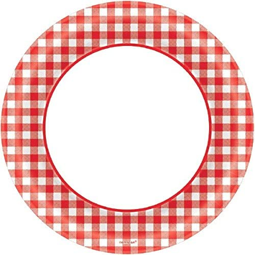 Disposable Classic Picnic Red Gingham Border Round Plates Party Tableware, Paper, 15cm , Pack of 40