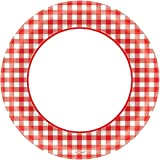 Amscan Disposable Classic Picnic Red Gingham Border Round Plates Party Tableware, 40 Pieces, Made from Paper, Picnic and Barnyard Party Theme, 10'' by