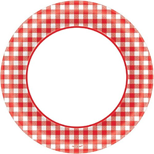 "Disposable Classic Picnic Red Gingham Border Round Plates Party Tableware, Paper, 6"", Pack of 40"