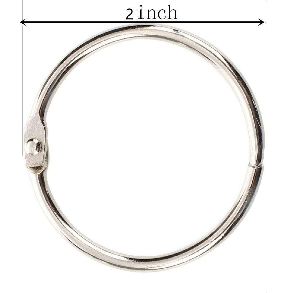 Loose Leaf Rings Book Binder Rings(15 Pack) 2 Inch Diameter Nickel Plated Silver
