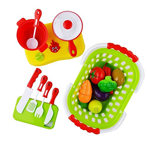 FunsLane 18 Pcs Play Food and Cooking Toy Set with Basket for Pretend Play, Plastic Cutting Fruits, Vegetables, Pot and (Cooking Food Plastic)