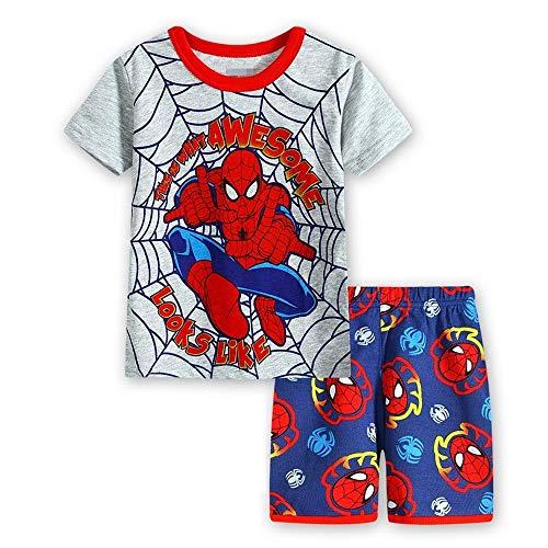 Fribro boy Shorts 2 Piece Pajama Set Spider-Man 100% Cotton Blue Size 2-7Yrs (Spider-Man C, -