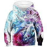 RAISEVERN Child Hoodie 3D Rainbow Unicorn Digital Print Hoodies Fashion Casual Pullover Hooded Sweatshirt Kids