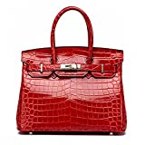 MACTON Genuine Leather bag Crocodile top-handle bag MC-8001 (30CM, Red)