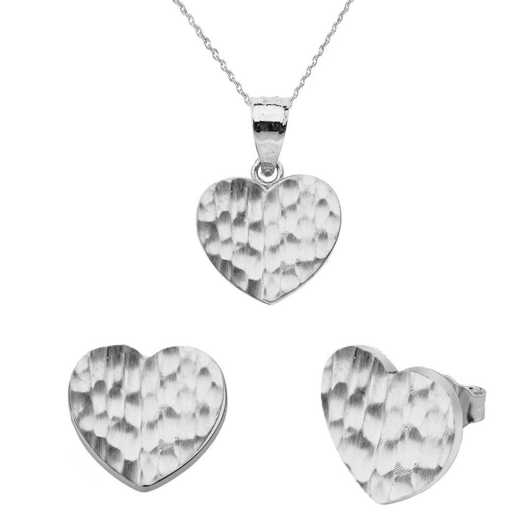 Fine 10k White Gold Love Hammered Heart Charm Pendant Necklace and Earring Set, 18''