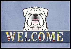 "Caroline's Treasures BB1406JMAT White English Bulldog Welcome Indoor or Outdoor Mat, 24 x 36"", Multicolor"