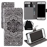 iPhone SE Case, iPhone 5S Case, PU Leather Wallet Case Flip Cover by DRUnKQUEEn with Credit / Business / ID Card Cash Holder for Apple iPhoneSE / iPhone5 5S