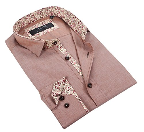 Coogi Luxe 100% Cotton Men's Rosewood Color with Flower Trim Casual Dress Shirt (Medium)