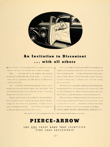 1936 Ad Pierce Arrow Automobile Motor Car Buffalo - Original Print Ad by PeriodPaper LLC-Collectible Original...
