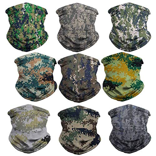 VCZUIUC Camouflage Headband Camo Dust Face Mask Hunting Bandana Head Wrap Scarf Neck Warmer Multi Function Headwear Balaclava for Sports (9 Camo Series)
