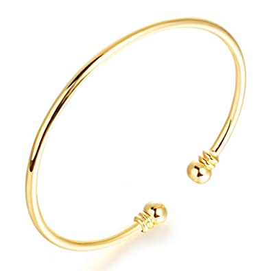 OPK Jewellery Chinese Traditional Style Auspicious Peace & Luck Womens Expander Bangle Bracelet Gold dTVwxhry