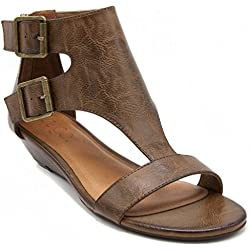 Sugar Women's Wigout Demi Wedge Sandal 7 Burnished Brown