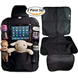 Car Seat Organizer and Car Seat Protector With iPad and Tablet Holder Premium Durable Quality Seat Covers Pocket Storage Child Seat Back Organizer & Kick Mat Protector Accessories Backseat