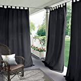 gazebo curtains with velcro COFTY Indoor/Outdoor Tab Top Curtain Panels For Patio| Porch| Gazebo| Pergola | Cabana | dock| beach home - Black 84W x 120L Inch (1 Panel)
