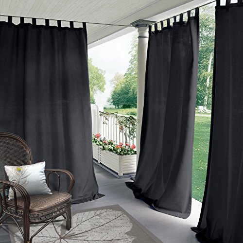 COFTY Indoor/Outdoor Tab Top Curtain Panels For Patio| Porch| Gazebo| Pergola | Cabana | dock| beach home - Black 52W x 96L Inch (1 Panel)
