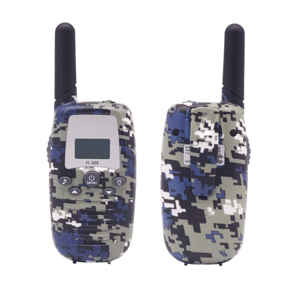 Banbu Kids Walkie Talkies, 22 Channels FRS UHF Two Way Radios 2 Miles Handheld Mini Kids Walkie Talkies Best Gifts Kids Toys Built in Flashlight,2Packs,Bluecamouflage