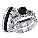 TVS-JEWELS New Design Black CZ Women's & Men's Engagement Wedding Ring Trio Set W/ 925 Sterling Silver