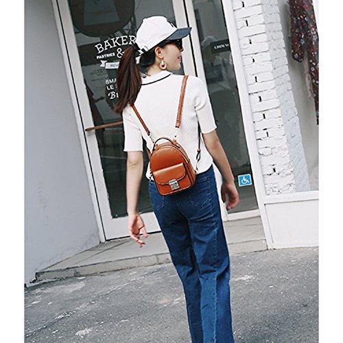 Foino Leder Rucksack Damen Rucksäcke Mode Tasche Umhängetasche Reisetasche Backpack Ledertasche für Lässige Sporttasche Handtasche Braun 80gEV0p