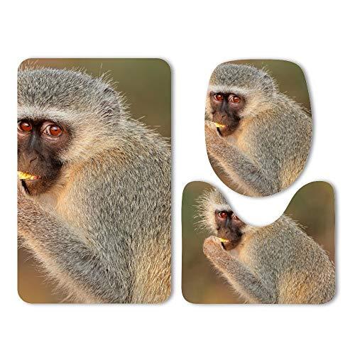 DKISEE 3 Piece Bathroom Mat Set Animal Monkey Eating Washable Bath Rug Set Non Slip Carpet Bath Mat Set (Carpet Bmw 318i)