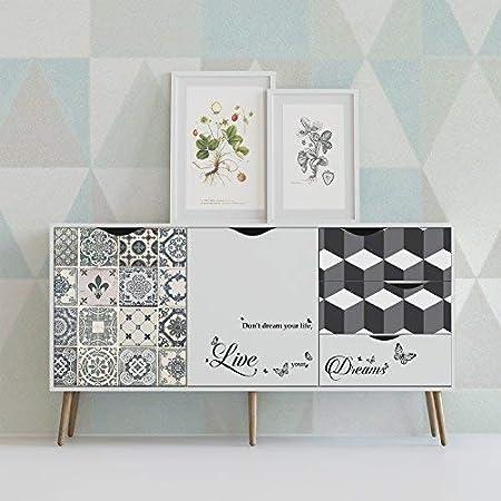 Walplus Tuile et Motif G/éom/étrique Meuble Emballage Autocollant D/écalcomanie Autocollant Mural Vinyle Multicolore 90 X 60 X 4 CM