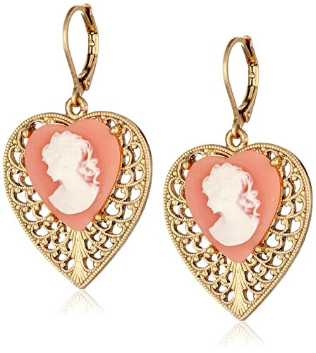 Cameo Gold Tone Earrings - 1928 Jewelry Gold-Tone Pink Cameo Heart Overlay Filigree Drop Earrings