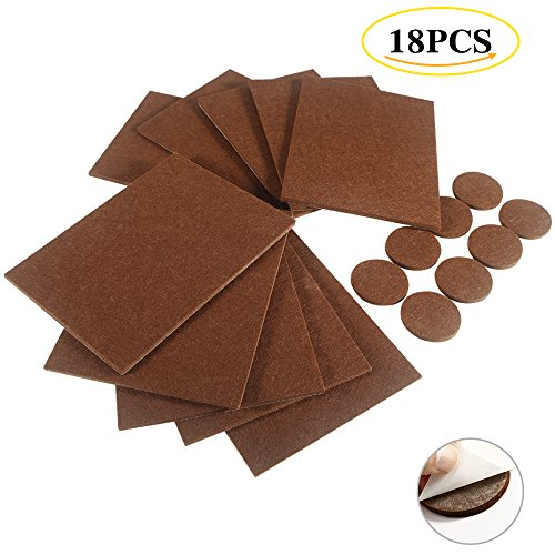 Furniture Pads - 18 Pcs Self-Stick Felt Furniture Pads Protector Furniture Sliders with 3M Super Adhesive for Hard Surfaces - Cut into any Shape