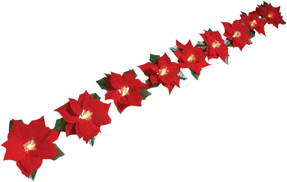 Collections Etc. Solar-Powered-Fiber-Optic-Poinsettia-Blossoms-Light-String
