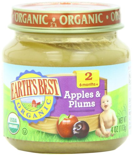 Earth's Best Organic Stage 2, Apples & Plums, 4 Ounce Jar (Pack of 12) - Prunes Organics Stage 2