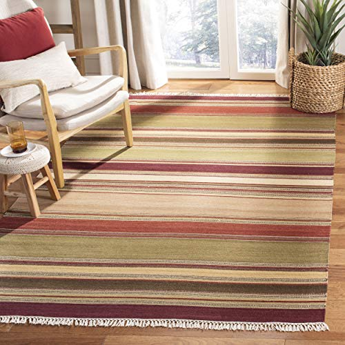 Safavieh Striped Kilim Collection STK313A Hand Woven Red Premium Wool Area Rug (8' x 10')