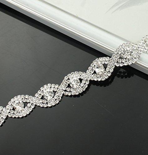 De.De. 1 Yard Silver Stunning Rhinestone Shining Crystal Sew On Fashion Curve Trim ()
