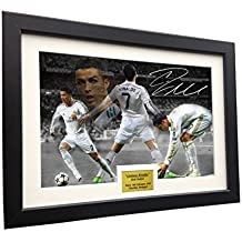 """Cristiano Ronaldo 12x8 A4 Signed """"CELEBRATION"""" - Real Madrid - Autographed Photo Photograph Picture Frame Soccer"""