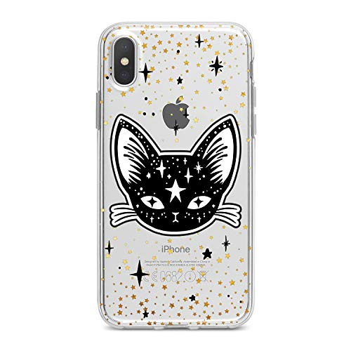 Lex Altern TPU Case for iPhone Apple Xs Max Xr 10 X 8+ 7 6s 6 SE 5s 5 Kawaii Black Kitty Clear Flexible Girlish Cover Cute Cat Golden Stars Transparent Protective Lightweight Women Silicone Present