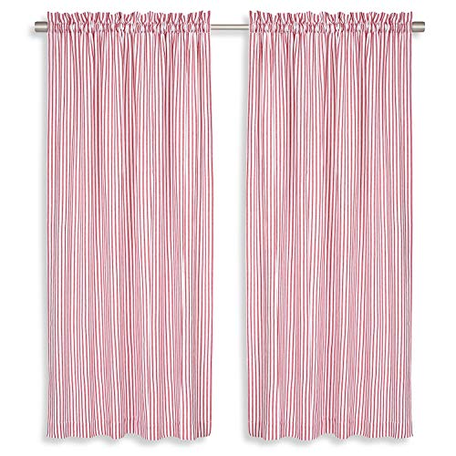 Cackleberry Home Red and White Ticking Stripe Woven Cotton Panel Curtains 54 Inches W x 84 Inches L, Set of 2 (Window Curtain Stripe Red)