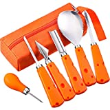 Tatuo Set of 6 Heavy Duty Stainless Steel Halloween Pumpkin Carving Kit Reusable Pumpkin Carving Tools Set for Adult and Child (with Carrying Bag)